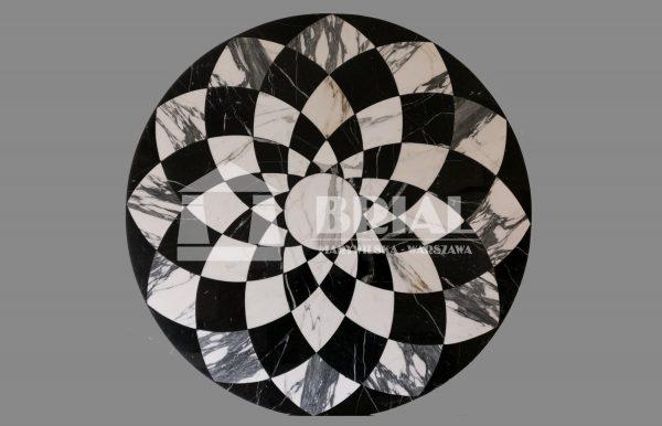 styl retro, styl klasyczny, Rozeta z marmurów Bianco Carrara i Nero Marquina
