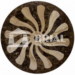 Rozeta z marmurów Dark Emperador i Breccia Sarda, rozeta marmurowa, klasyczna rozeta na podłogę marmurową, marmurowy blat stołu, beżowy marmur, brązowy marmur